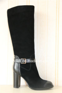 Europe Trendy Comfort High Heel Lady Leather Warm Boots pictures & photos