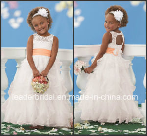 Hollow Back White Organza Coral Flower Sash Beginning Bridesmaid Flower Girl Dresses B1446 pictures & photos