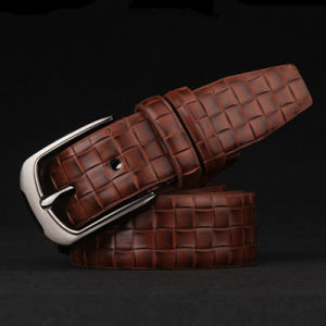 2017 High Quality Plaid Leather Belt Men′s Fashion Pin Buckle pictures & photos