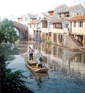 Oil on Canvas Village Landscape Oil Painting for Home Decor (ESL-143) pictures & photos