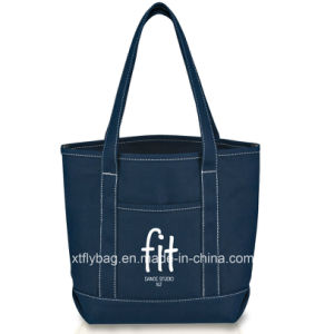 Eco-Friendly Canvas Shopping Tote Bags with Front Pocket pictures & photos