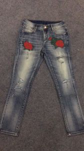 United States Fashion Wind Flowers Embroidered Jeans pictures & photos