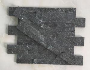 10*40cm Slim Black Quartzite Natural Glued Stacked Stone Hhsc10X40-007 pictures & photos
