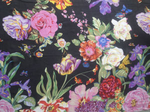 Silk Satin Print in Flower Pattern