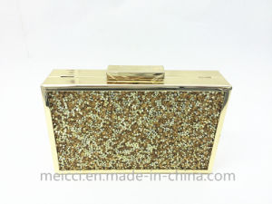 Gold Crystal Ladies Clutch Bag, Party Eveningbag pictures & photos