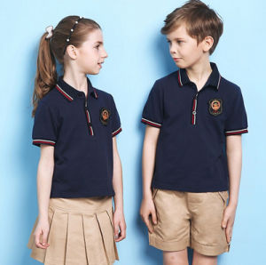 Summer Short Sleeve Good Quality Kids School Uniform Latest Designs Polo Shirt pictures & photos