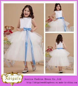 Cute Elegant Satin Tulle Ball Gown Scoop Tired Sash Sleeveless Tea Length Flower Girl Dress Yj0121