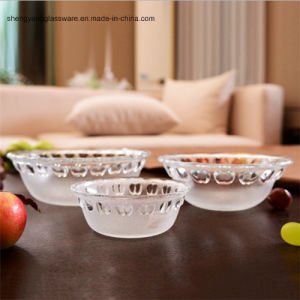 Embossed Apple Glass Salad Bowl/Fruit Bowl/Party Glass Bowl pictures & photos