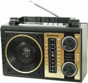 Portable Radio with USB/SD and Rechargeable Battery and Wooden Cabinet (HN-2211UAR)