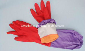 PU Coated Women Latex Household Gloves with Cotton Liner