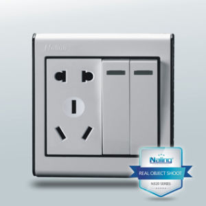 2 Gang Switch Socket Outlet with 2 Pin Us & 3 Pin (N320)
