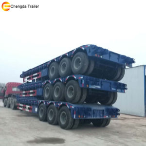 3 Axles Lowbed Semi Trailer Truck, Lowboy Trailer Truck pictures & photos