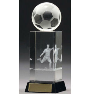 Customized Logo Engraving Crystal Glass Soccer Trophy pictures & photos