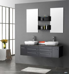 Fancy Design Wood Bathroom Cabinet with Two Mirrors pictures & photos