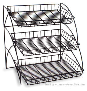 3 Shelves Space-Saving Metal Retail Snake Black Wire Display Rack pictures & photos