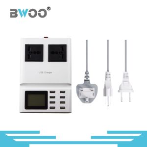 8-USB LCD Screen Smart Charger Station with 2 Universal Socket pictures & photos