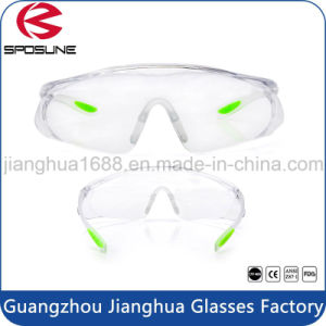 Adjustable PC Glasses Ce En166 Elastic Safety Goggles Clear Lens Rubber Temple Tips pictures & photos