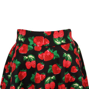in Stock Strawberry Print Large Pendulum Length Party Skirts for Women pictures & photos