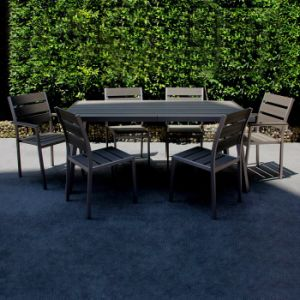 China B&R Patio Garden Furniture Brushed Aluminum Polywood Cafe Dining Room Restaurant Chair Table Set pictures & photos