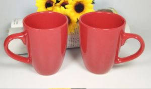 Promotional Embossed Stoneware Tea Cups with Different Color pictures & photos