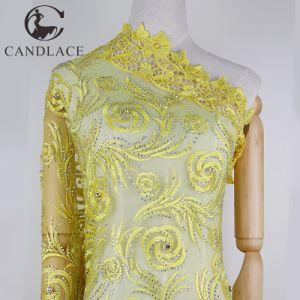 Yellow Lace Fabric Stone Lace for Women Party Dress pictures & photos
