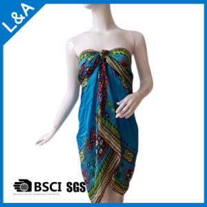 Polyester Satin Printed Chiffon Scarf Beach Dress