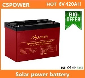 Cspower 6V420ah Solar Battery UPS Battery Gel Battery Lead Acid Battery pictures & photos