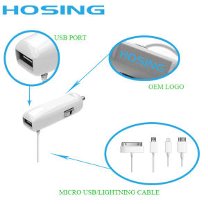 Fast USB Car Adapter with Micro /iPhone Cable 5V 2A pictures & photos