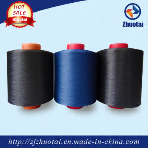 100% Polyester Dope Dyed Black Textured Yarn for Label Ribbon Weaving pictures & photos