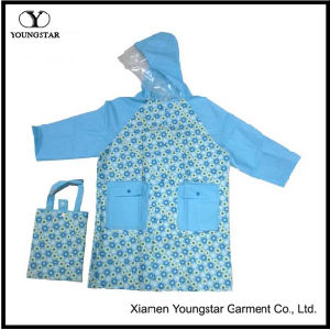 Fashion Design Printed PVC Rain Coat for Children with Handbag pictures & photos