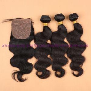 8A Unprocessed 100% Human Hair Virgin Peruvian Body Wave Bundles with Silk Base Closure pictures & photos