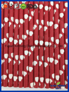 Birthday Party Decoration Red with White Hearted Paper Straw pictures & photos
