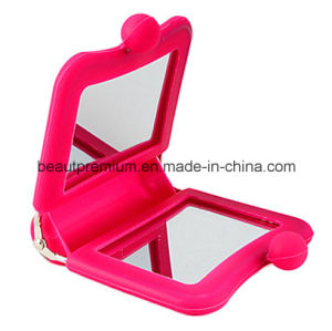 Pink Silica Gel Square Double Side Pocket Make up Mirror BPS076 pictures & photos