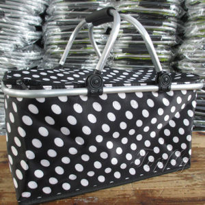 Fabric Folding Supermarket Basket with Aluminum Frame Handle pictures & photos