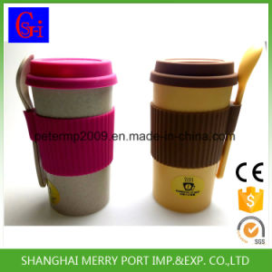 Eco-Friendly Free Sample Rice Husk Fiber Mug with Silicone Lid and Silicone Sleeves pictures & photos