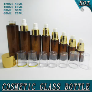 Wholesale Amber Glass Body Lotion Bottle with Pump pictures & photos