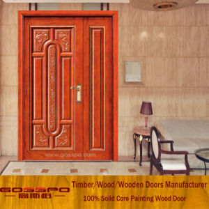 Solid Core Door Mother and Son Mahogany Wood Entry Door (XS1-013) pictures & photos