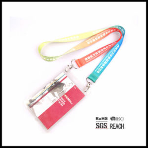 Personalized Double Clip ID Badge Holder Lanyard Adjustable Length Passport Lanyard Open End pictures & photos