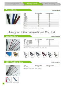 Hot Sale ABS Material Plastic Velo Binding Strips pictures & photos