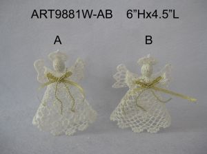 White Crochet Angel Christmas Decoration Decoration-2asst pictures & photos