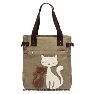 Cute Cat Canvas Handbag Messenger Mummy Canvas Tote Lady Hand Bag pictures & photos
