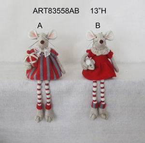 Pompom Legged Mouse with Gift+Baby, Christmas Decoration 2 Asst pictures & photos