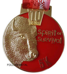 Award Medal with Goat Spirit of Survival 5k Logo