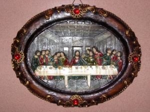 Oval Resin Religious Plaque for Christmas Decoration pictures & photos
