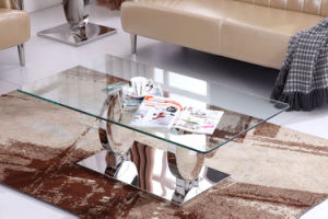 Italy Design Glass Top Coffee Table with Stainless Steel Base pictures & photos
