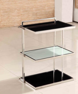 High Quality Tempered Glass Modern Display Showing Shelf Table with Stainless Steel