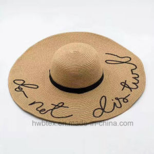 Promotion Big Brimmed Paper Straw Hat Printed with Logo (HW09) pictures & photos