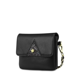 New Arrival Luxurious Vintage PU and Glitter Patchwork Chain Fashion Handbags
