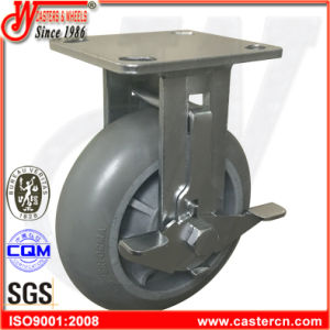 6 Inch Industrial Heavy Duty TPR Rigid Caster with Brake pictures & photos