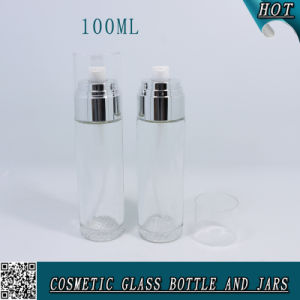 30g 100ml Clear Glass Cosmetic Bottle and Jar with Screw Sprayer Cap pictures & photos